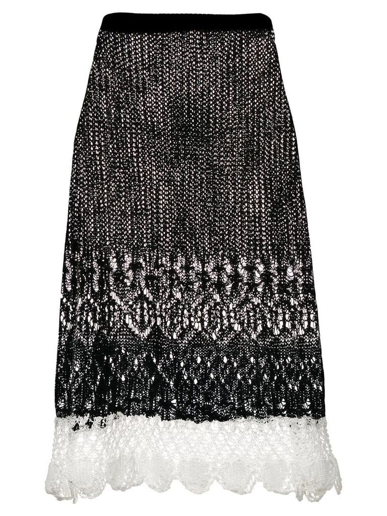 Jil Sander lace-panelled skirt - Black