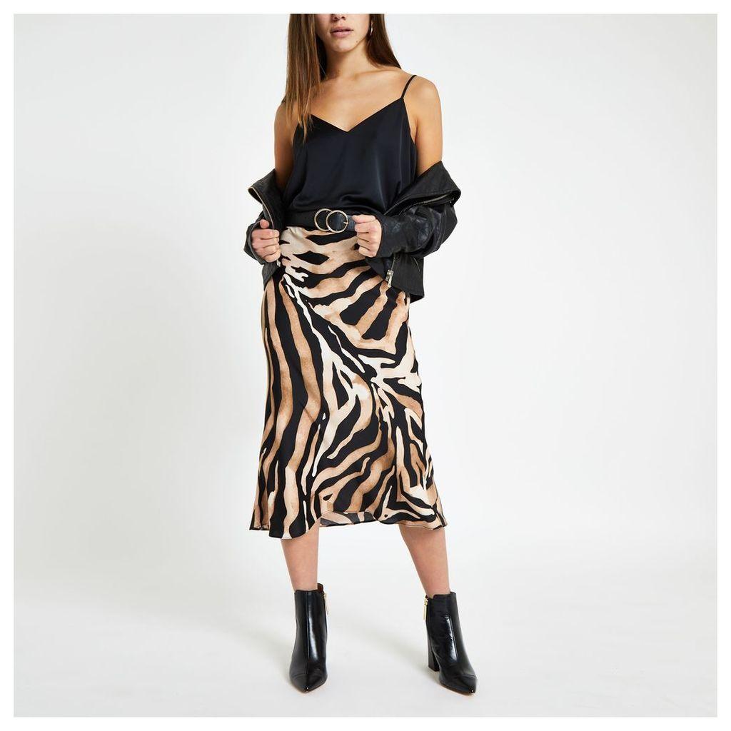 Womens Petite Beige zebra print midi skirt