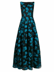 Talbot Runhof floral organza full dress - Black