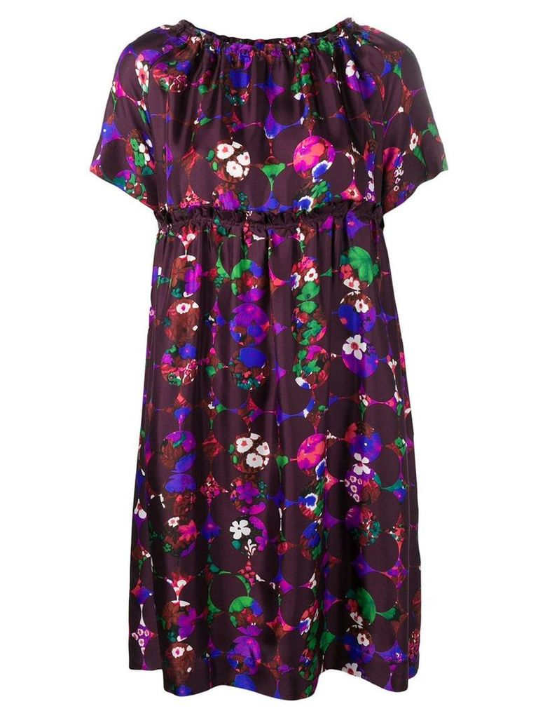Odeeh floral print flared dress - Purple