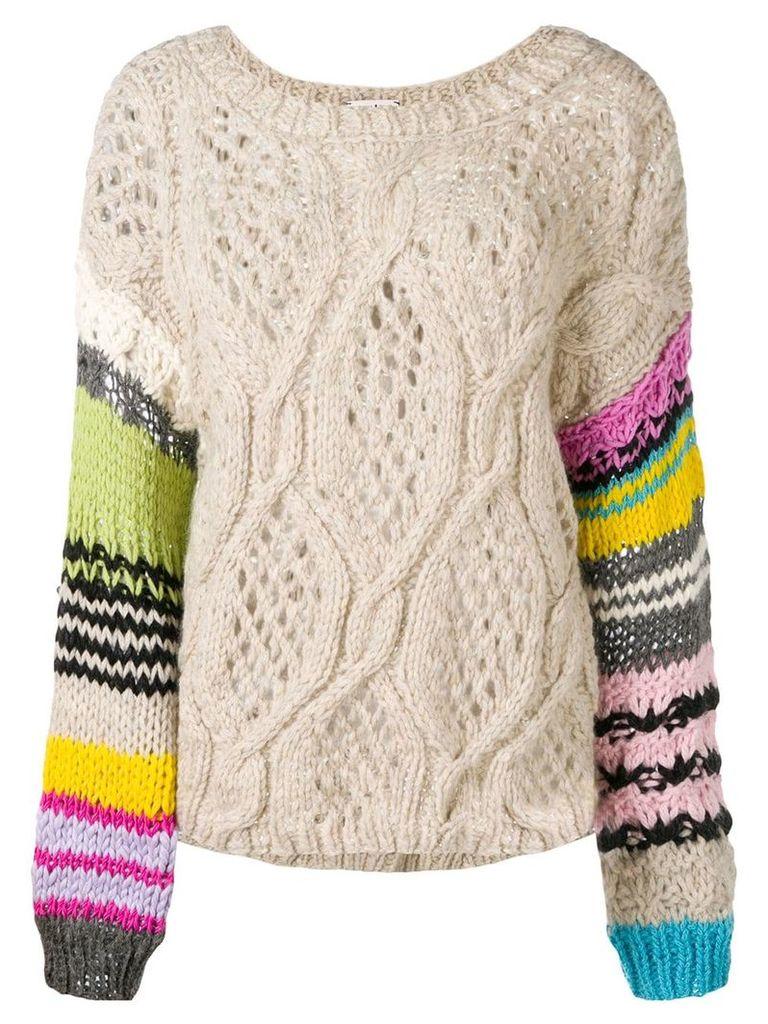 Natasha Zinko striped sleeve crochet jumper - Neutrals
