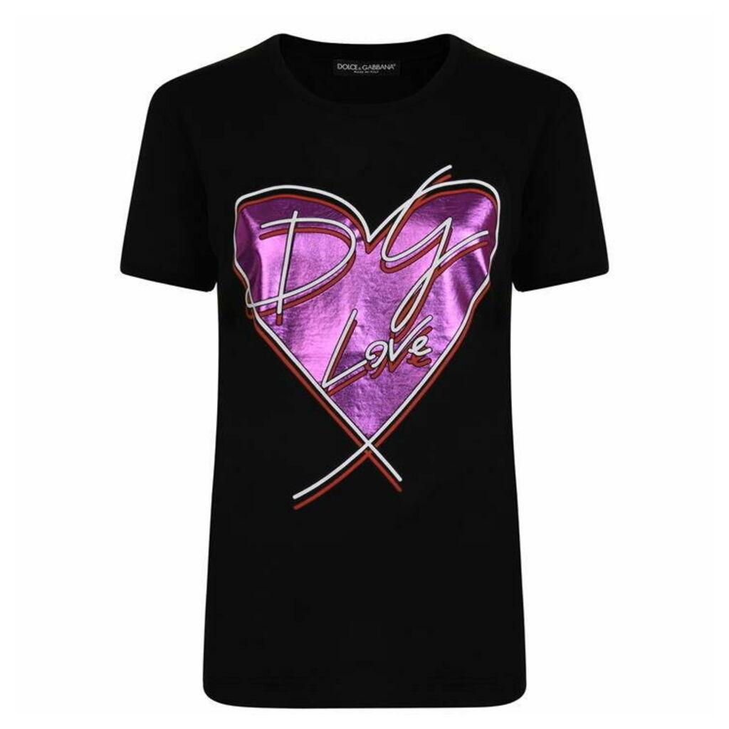 DOLCE AND GABBANA Heart Stamp T Shirt