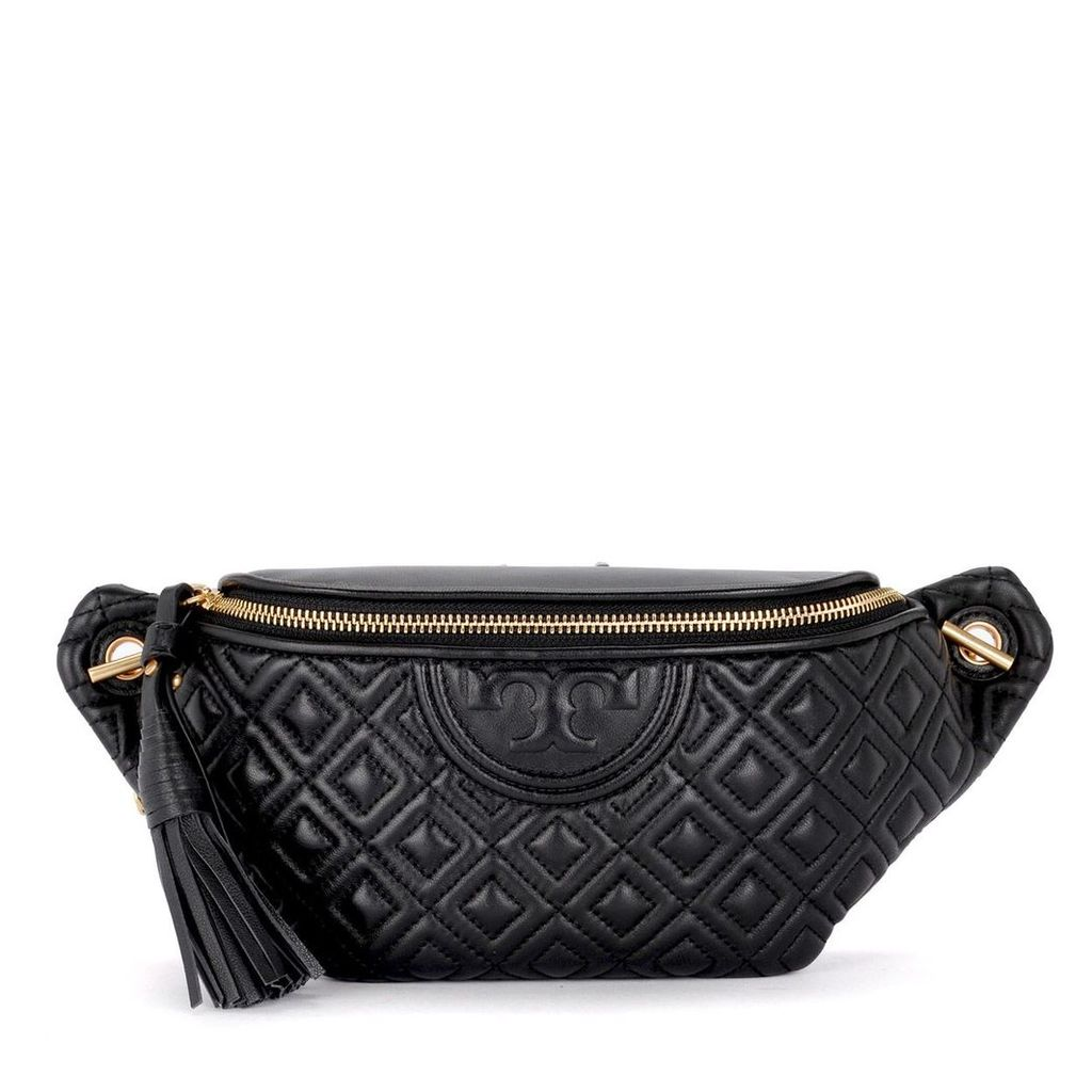 Tory Burch Feming Black Quilted Leather Pouch
