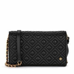 Tory Burch Fleming Black Quilted Leather Pochette