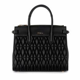 Furla Pin Cometa Black Quilted Leather Shoulder Bag.