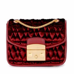 Furla Metropolis Cometa Red Quilted Velvet Shoulder Bag