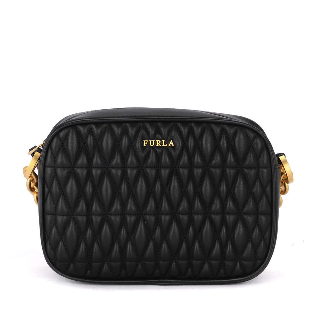 Furla Cometa Black Quilted Leather Shoulder Bag With Chain