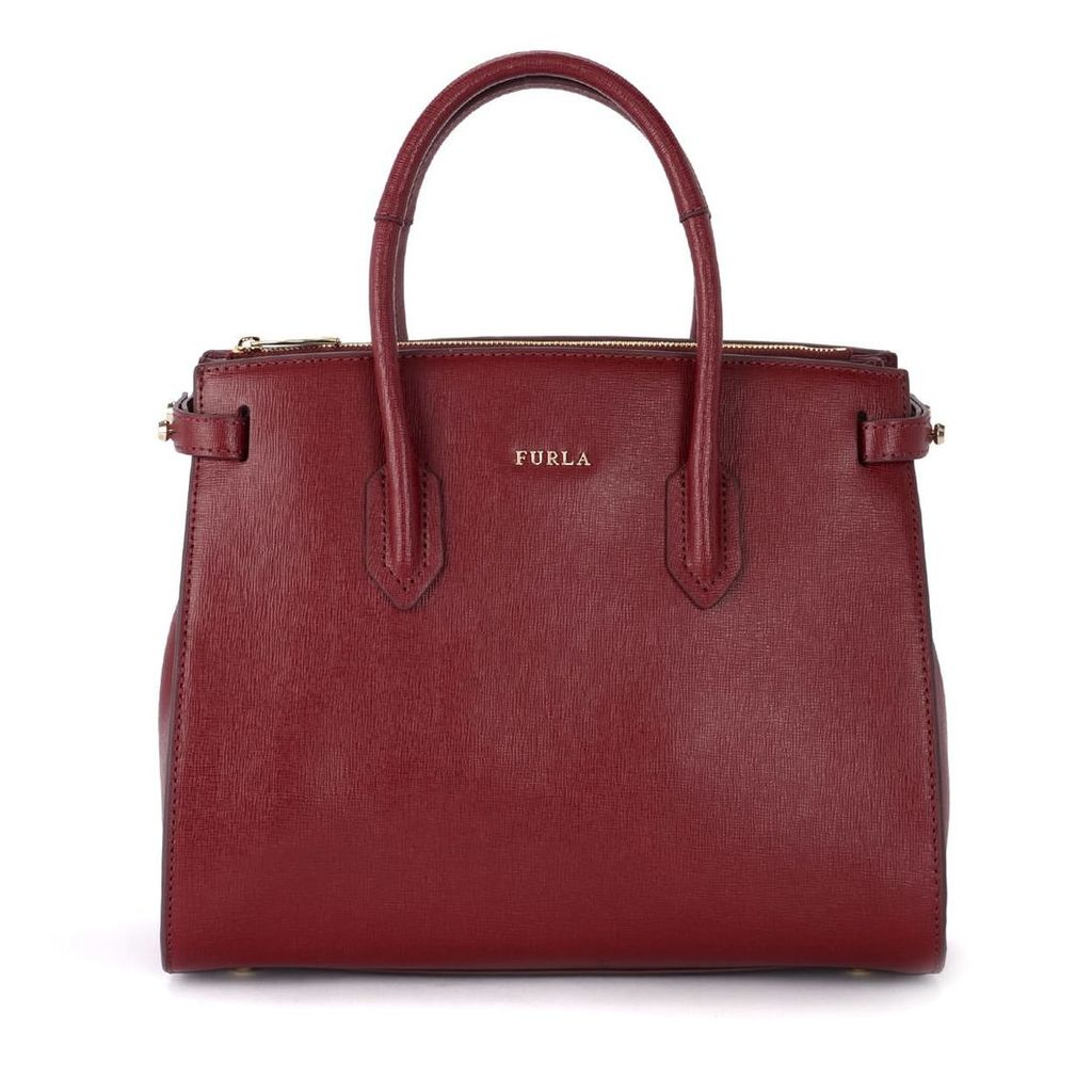 Furla Pin S Red Cherry Leather Handbag