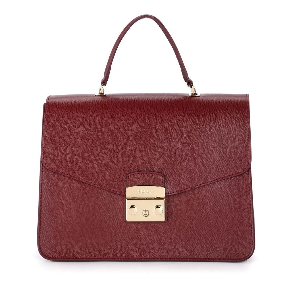 Furla Metropolis M Red Cherry Leather Handbag