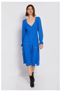 Womens Ghost London Blue Allie Printed Floral Crepe Dress -  Blue
