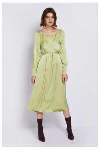 Womens Ghost London Green Cassie Chartreuse Satin Dress -  Green