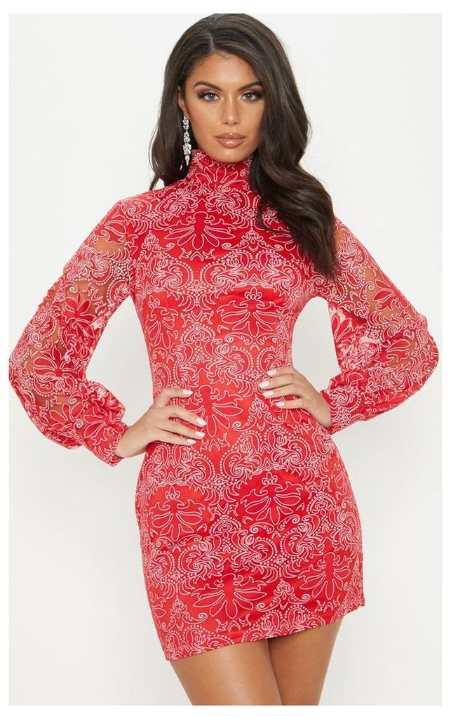 Red Flocked Lace Long Sleeve Bodycon Dress, Red