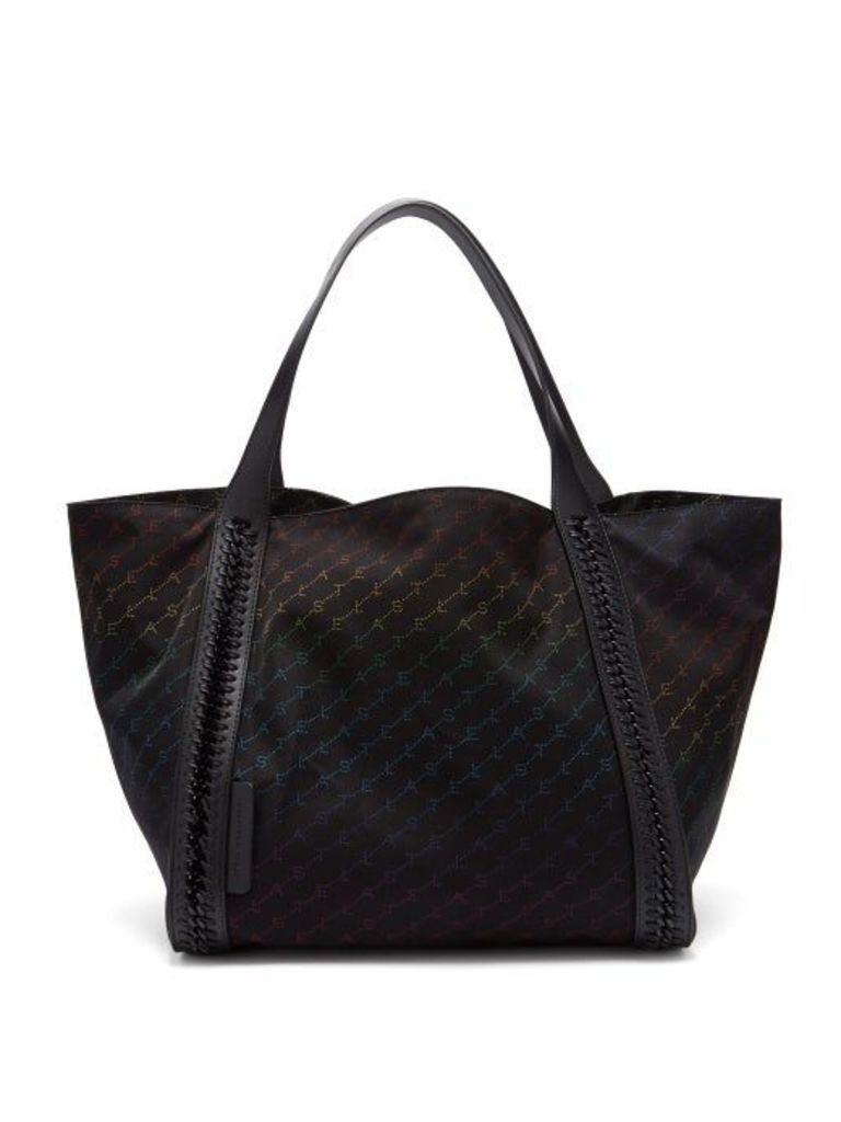 Stella Mccartney - Falabella Rainbow Logo Print Nylon Tote - Womens - Black Multi