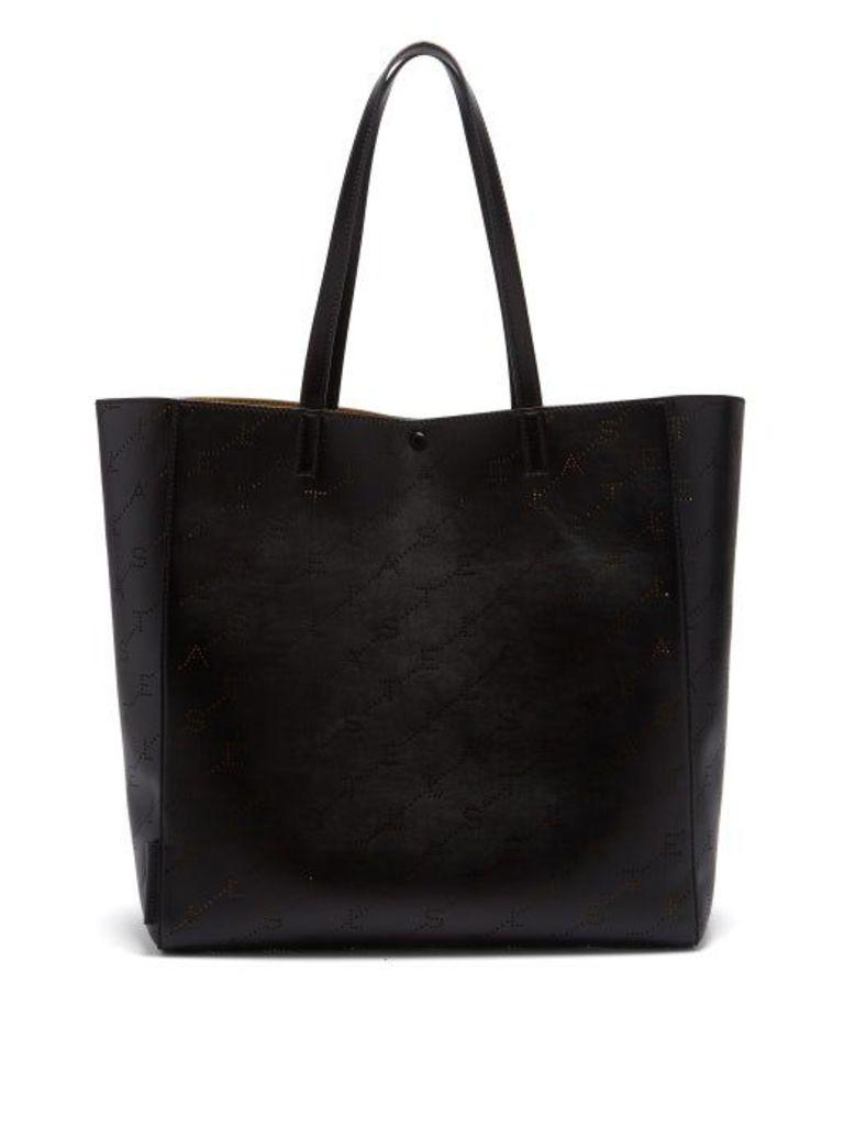 Stella Mccartney - Logo Pattern Faux Leather Tote - Womens - Black