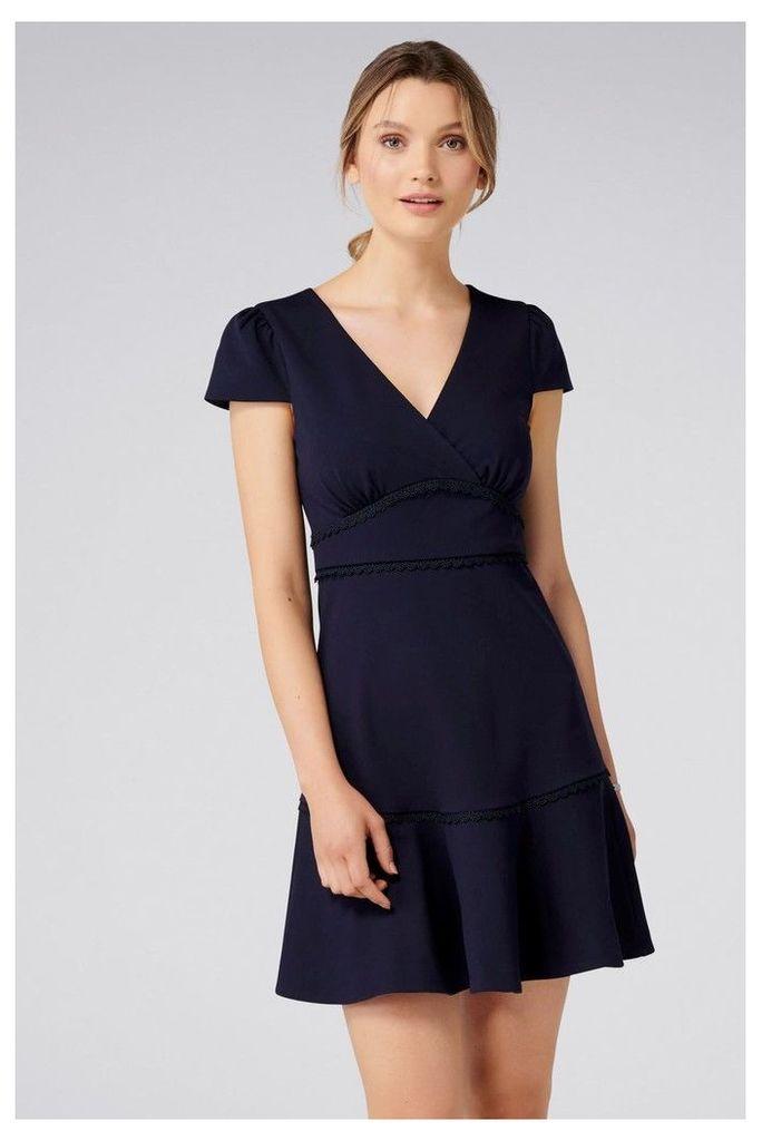 Womens Forever New Ponte Trim Insert Dress -  Blue