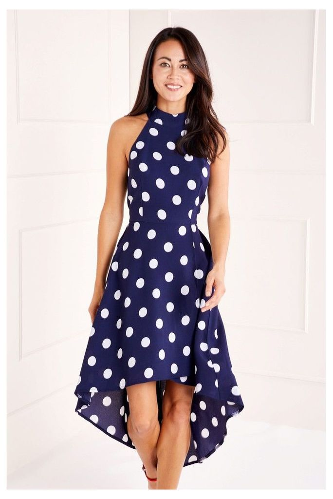 Womens Mela London Polka Dot High Low Dress -  Blue