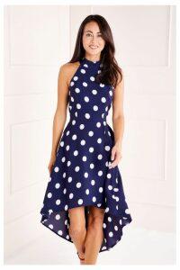 Womens Mela London Polka Dot High Low Dress -  Blue