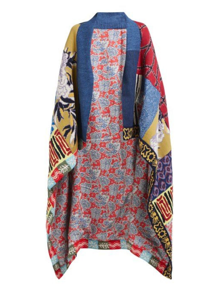 Etro - Patchwork Knitted Reversible Blanket Coat - Womens - Red Multi