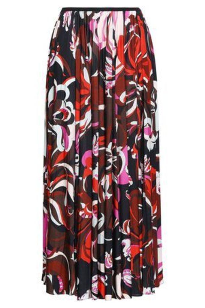 Emilio Pucci Woman Pleated Printed Jersey Maxi Skirt Brick Size 44