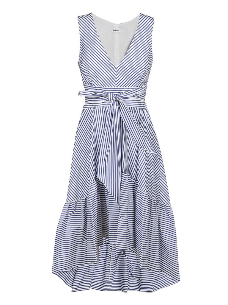 Parosh Bow-detailed Stripe Print Dress