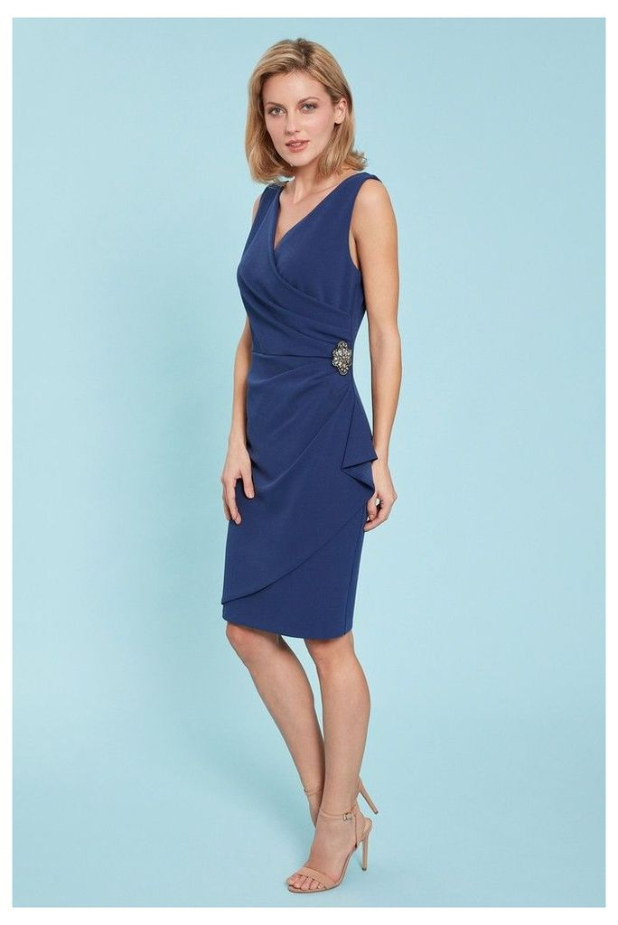 Womens Gina Bacconi Blue Terri Stretch Crepe Wrap Dress -  Blue