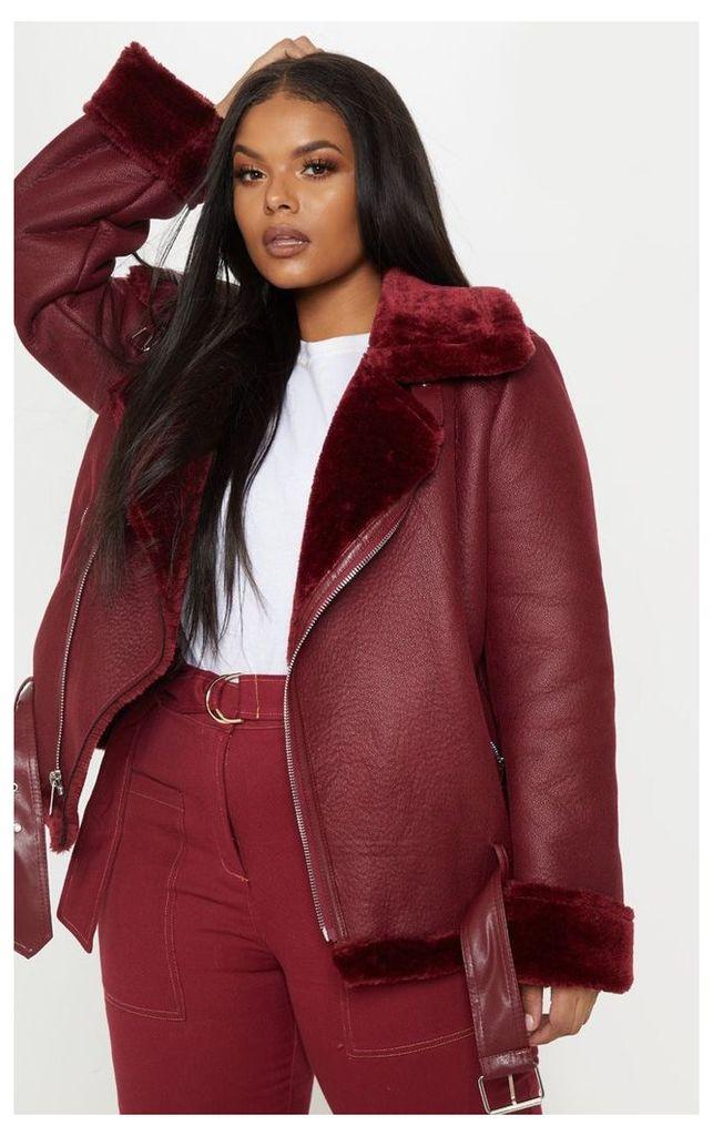 Plus Burgundy Aviator Coat, Red