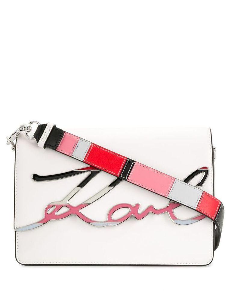 Karl Lagerfeld K/Signature Special Enamel crossbody bag - White