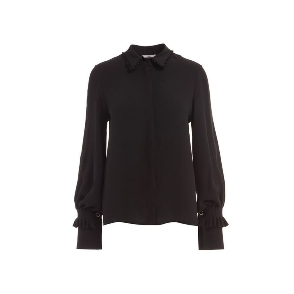 WtR Misty Black Statement Sleeve Silk Shirt