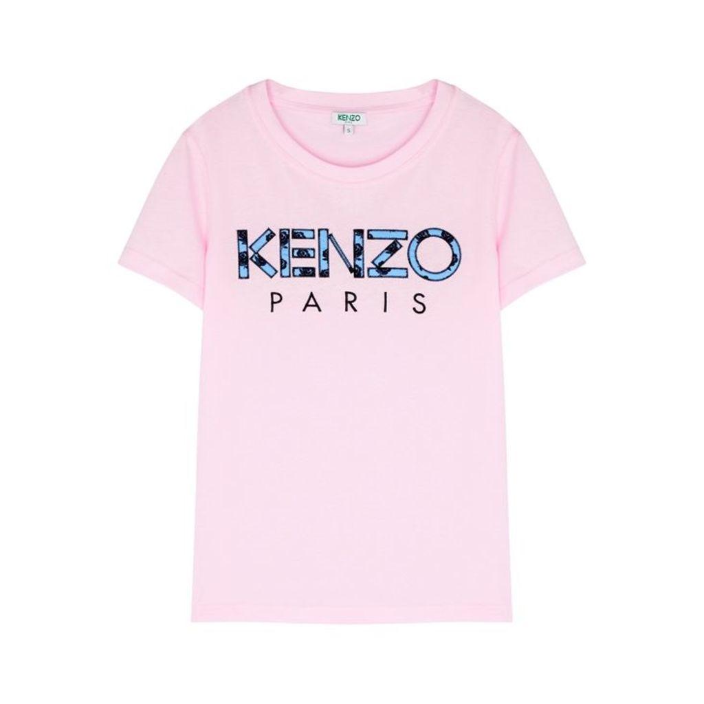 Kenzo Pink Logo-appliquéd Cotton T-shirt