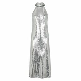 Galvan Daneila Silver Sequin Midi Dress