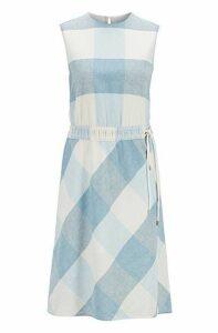 Linen-blend checked dress with drawstring waist