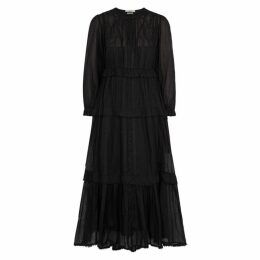 Isabel Marant Étoile Aboni Black Embroidered Cotton Midi Dress