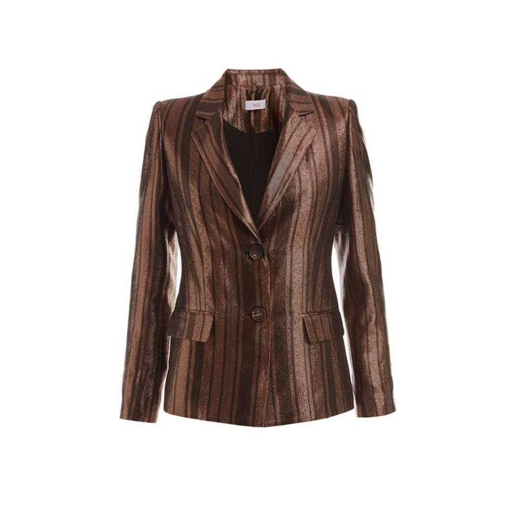 WtR Vesper Brown Metallic Silk Suit Jacket