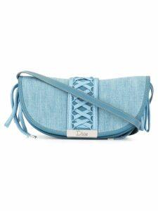 Christian Dior Pre-Owned lace up detail shoulder bag - Blue