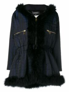 Chanel Pre-Owned 1990's hooded coat - Blue