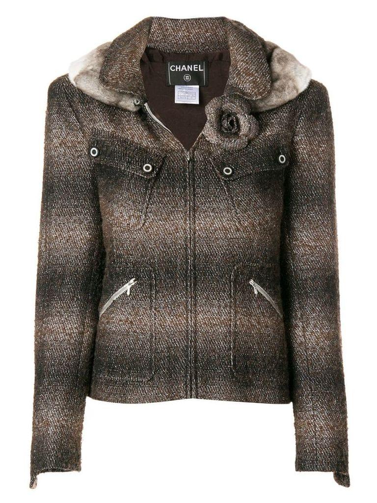 Chanel Vintage fur trimmed slim jacket - Brown