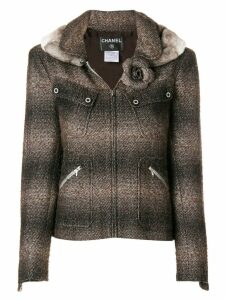 Chanel Pre-Owned 2003 fur trimmed slim jacket - Brown