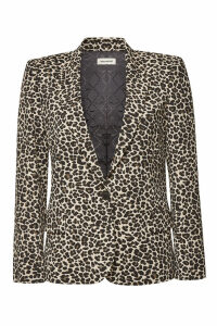 Zadig & Voltaire Victor Animal Print Jacquard Blazer with Cotton