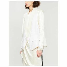 Shawl-lapel hemp and cotton waistcoat