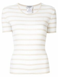 Chanel Pre-Owned knitted striped top - White