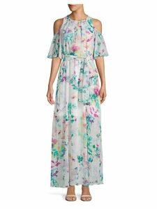 Cold-Shoulder Floral Chiffon Long Dress