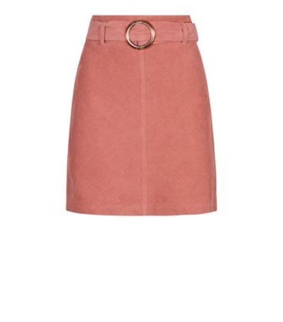 Mid Pink Resin Buckle Belted Corduroy Skirt New Look