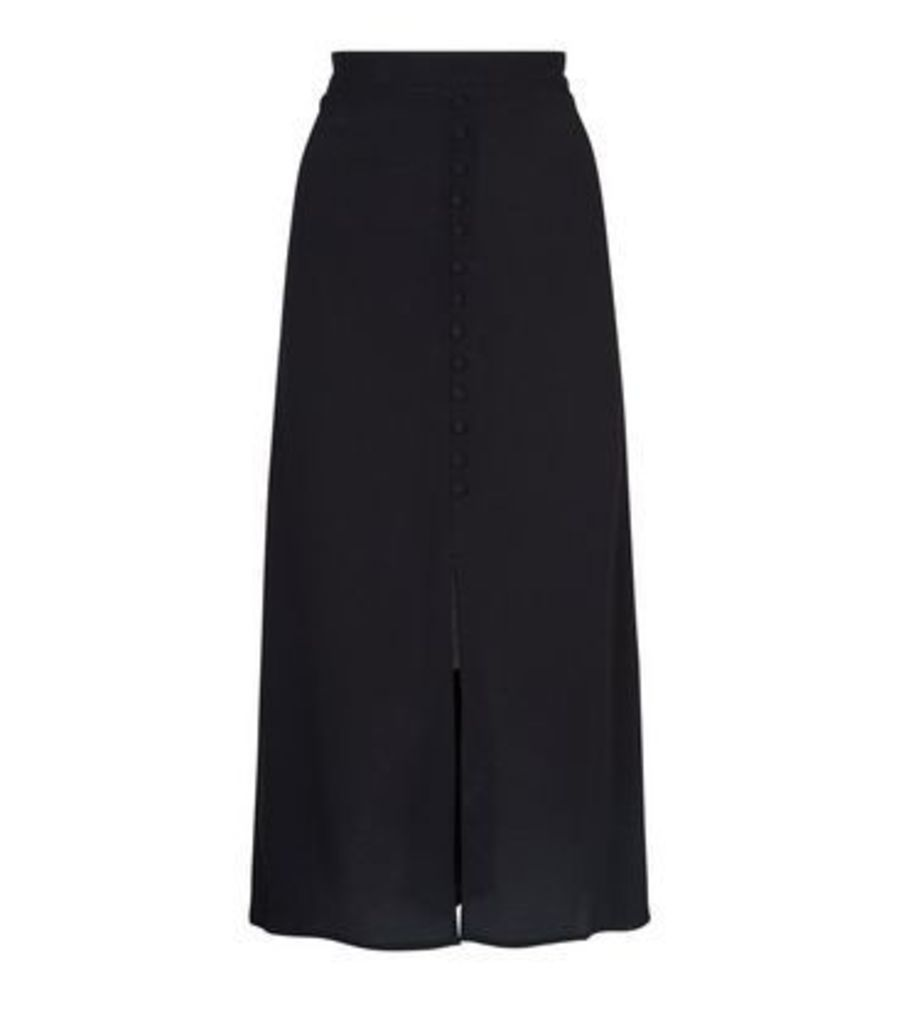 Tall Black Button Front Midi Skirt New Look