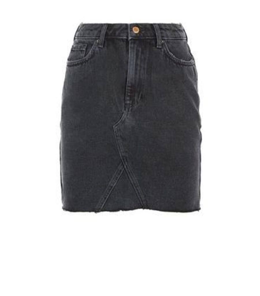 Black Frayed Hem Denim Skirt New Look