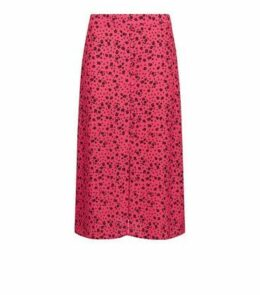 Petite Bright Pink Button Front Floral Midi Skirt New Look