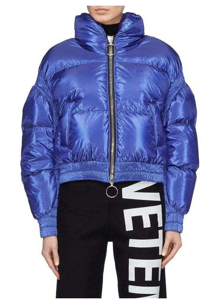 Contrast rib panel cropped down puffer jacket