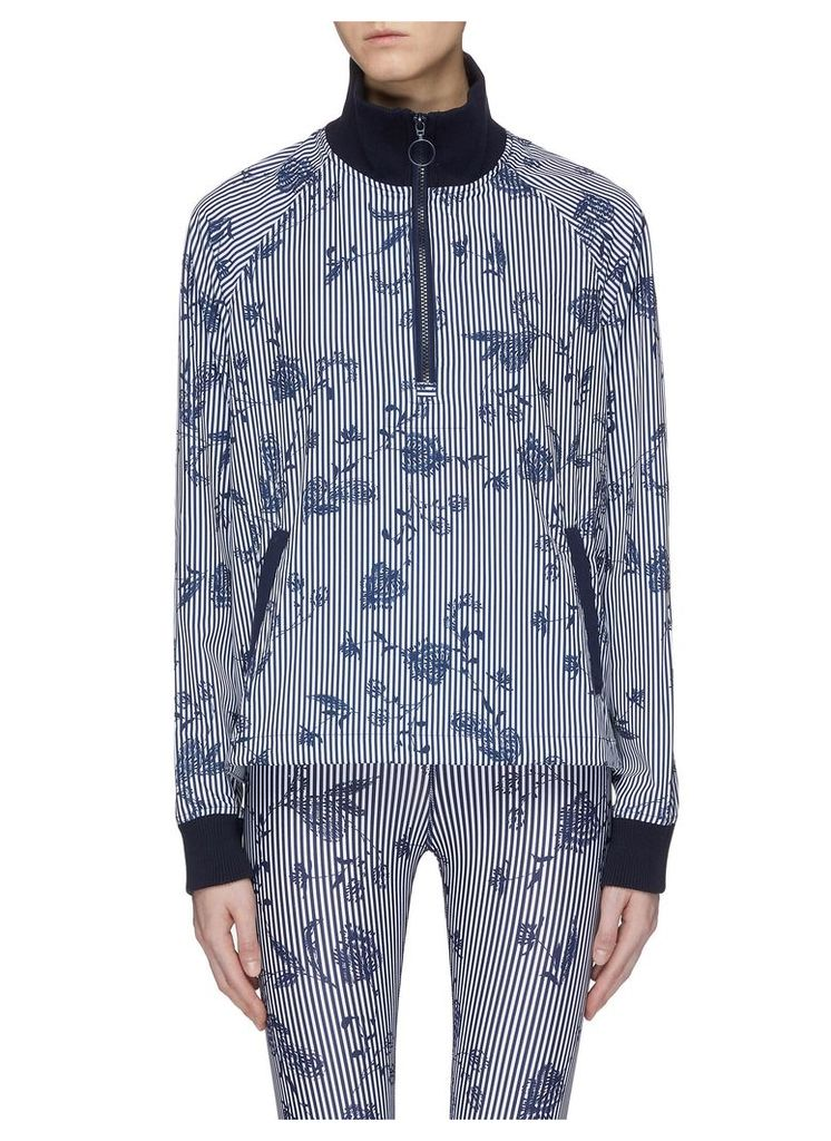 'Florence' floral print stripe half-zip performance jacket