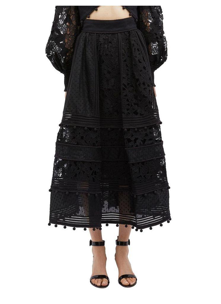 'Corsage' guipure lace panel midi skirt
