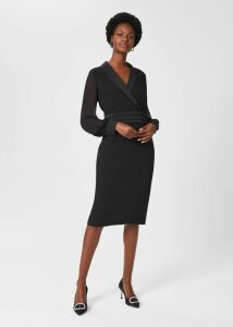 Avery Kick Pleat Wool Skirt Pink Multi