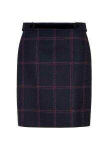Riley Wool Skirt Navy Pink 18